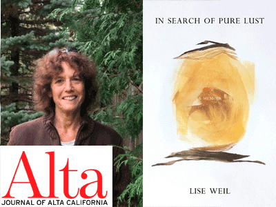 Lise Weil author photo and In Search of Pure Lust cover image