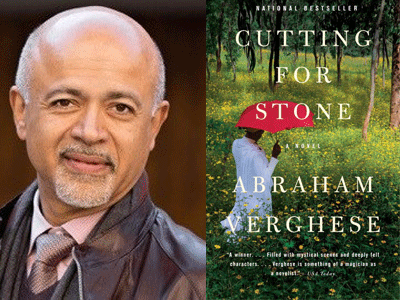 Abraham Verghese author photo and Cutting for Stone cover image