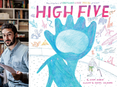 Adam Rubin author photo and High Five cover