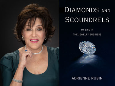 Adrienne Rubin author photo and Diamonds and Scoundrels cover image