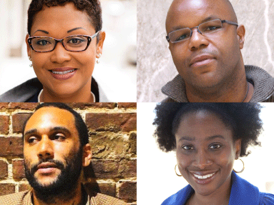 Author photos for  Jenee Darden, Tongo Eisen-Martin, Audrey Esquivel, and James Cagney