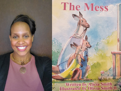 Alicia Smith author photo and The Mess cover image