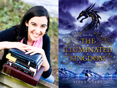 Alina Sayre author photo and The Illuminated Kingdom cover image