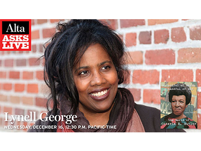 Lynell George author photo with Alta banner and book cover image