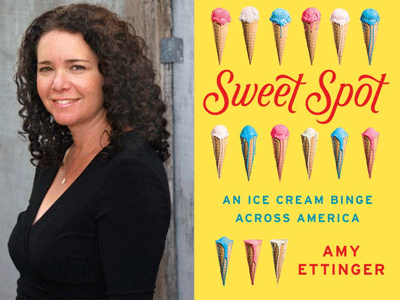 Amy Ettinger author photo and Sweet Spot cover image