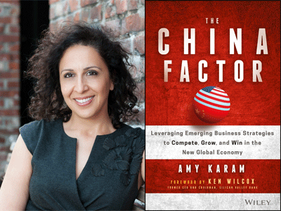 Amy Karam author photo and The China Factor cover image