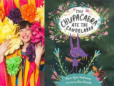Ana Aranda author photo and The Chupacabra Ate the Candelabra cover image