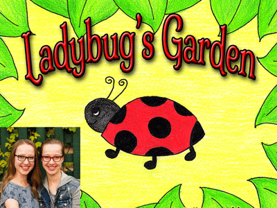 Anabella and Sofia Schofield author photo and Ladybug's Garden cover image
