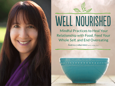 Andrea Lieberstein author photo and Well Nourished cover image