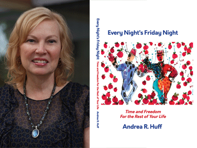 Andrea R. Huff author photo and Every Night's Friday Night cover image