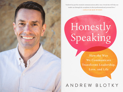 Andrew Blotky author photo and Honestly Speaking cover image