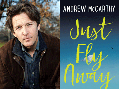 Andrew McCarthy author photo and Just Fly Away cover image