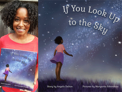 Angela Dalton author photo and If You Look Up to the Sky cover image