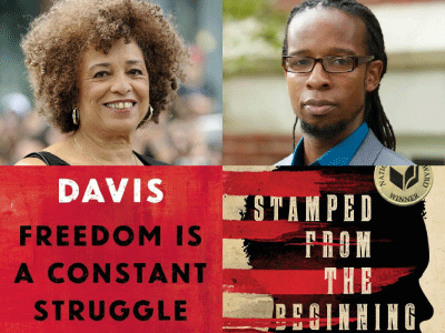 Author photos and cropped cover images for Angela Y. Davis and Ibram X. Kendi