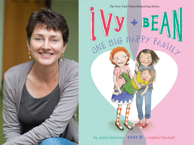 Annie Barrows author photo and Ivy + Bean One Big Happy Family cover image