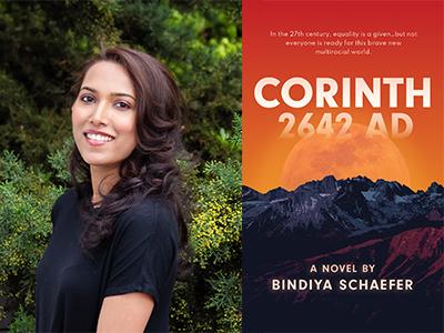 Bindiya Schaefer author photo and Corinth 2642 AD cover image