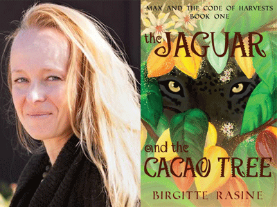 Birgitte Rasine author photo and The Jaguar ad the Cacao Tree cover image