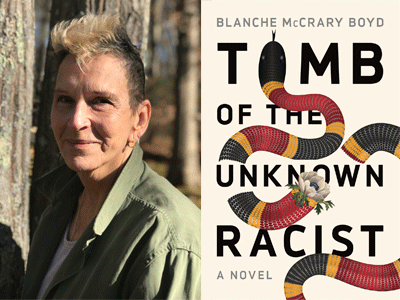Blanch McCrary Boyd author photo and Tomb of the Unkown Racist cover image