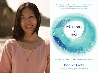 Bonnie Gray author photo and Whispers of Rest cover image