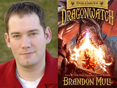 Brandon Mull author photo and Dragonwatch cover image