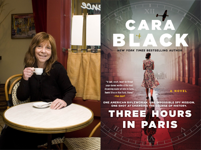 Cara Black author photo and Three Hours in Paris cover image