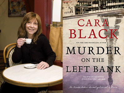 Cara Black author photo and Murder on the Left Bank cover image