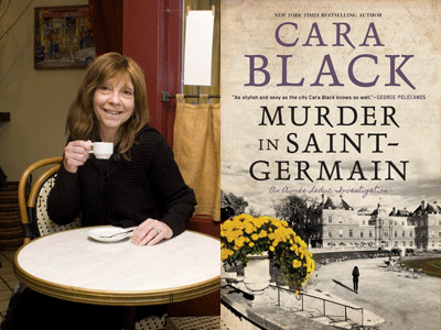 Cara Black author photo and Murder in Saint-Germain cover image