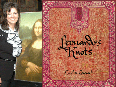 Caroline Cocciardi author photo and Leonardo's Knots cover image