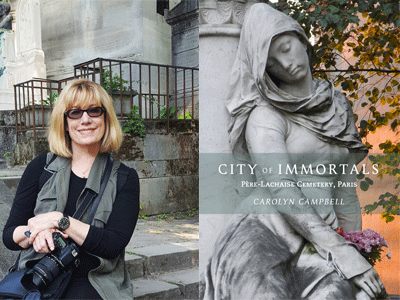Carolyn Campbell author photo and City of Immortals cover image