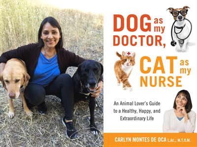 Carolyn Montes De Oca author photo and Dog as My Doctor, Cat as My Nurse cover image