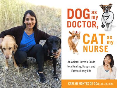 Carolyn Montes De Oca author photo and Dog as My Doctor, Cat as My Nurse cover image