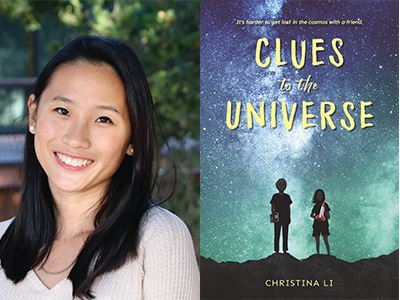 Christina Li author photo and Clues to the Universe cover image