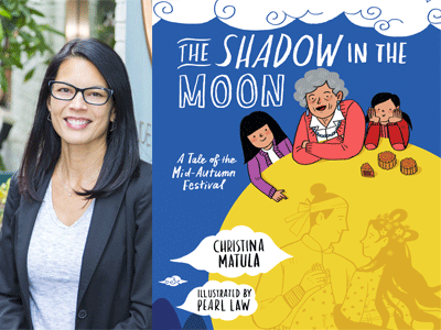 Christina Matula author photo and The Shadow in the Moon cover image
