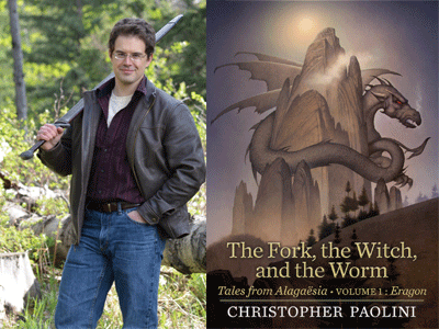Christopher Paolini author photo and The Fork, The Witch, and the Worm cover image