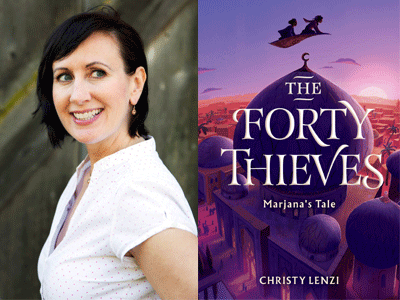 Christy Lenzi author photo and The Forty Thieves cover image