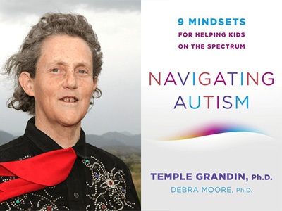 Temple Grandin author photo and Navigating Autism cover image