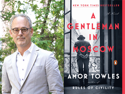 Amor Towles author photo and A Gentleman in Moscow cover image