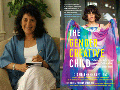 Diane Ehrensaft author photo and The Gender Creative Child cover image