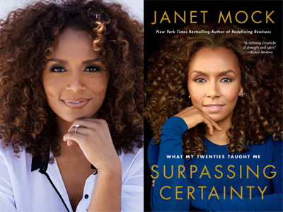Janet Mock author photo and Surpassing Certainty cover image