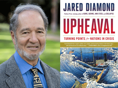Jared Diamond author photo and Upheaval cover image