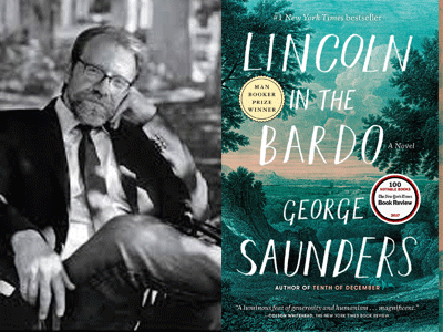 George Saunders author photo and Lincoln in the Bardo cover image