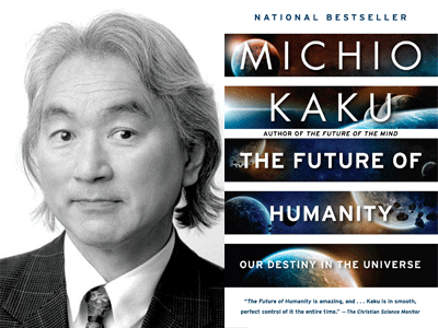 Michio Kaku author photo and The Future of Humanity cover image