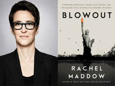 Rachel Maddow author photo and Blowout cover image
