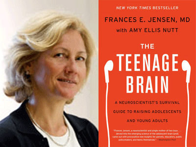 Frances Jensen, MD author photo and The Teenage Brain cover image