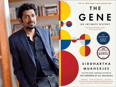 Siddhartha Mukherjee author photo and The Gene cover image