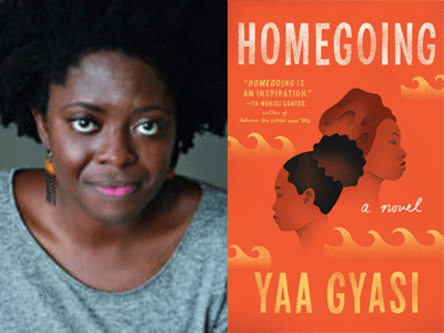 Yaa Gyasi author photo and Homegoing paperback cover image