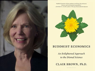 Clair Brown author photo and Buddhist Economics cover image