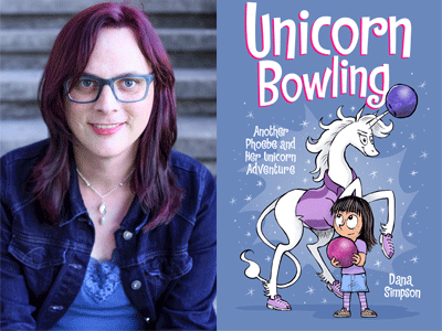 Dana Simpson author photo and Unicorn Bowling cover image