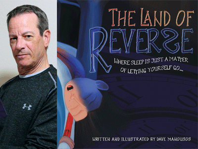 Dave Manousos author photo and The Land of Reverse cover image