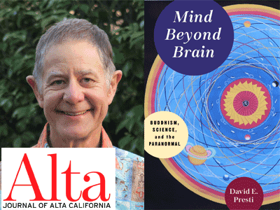 David Presti author photo and Mind Beyond Brain cover image